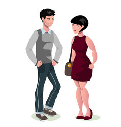 young cartoon couple in love vector image