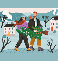 young couple carrying together decorated potted vector image