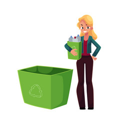 Young woman holding box of plastic bottles vector
