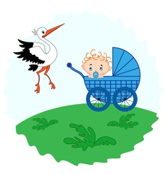 Baby boy in a and stork beside him vector image