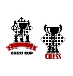 Chess game icons with cup and chessmen vector image vector image