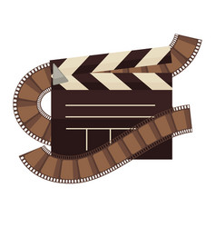 cinema clapperboard and film movie flat vector image vector image