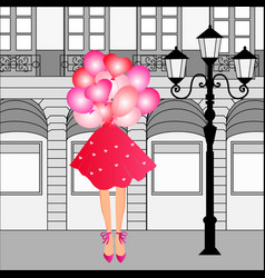 cute curly girl with balloons vector image vector image