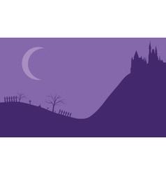Halloween castle on the hills vector