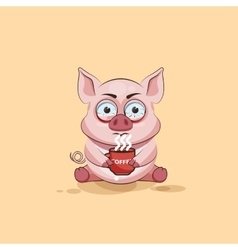 isolated Emoji character cartoon Pig nervous with vector image
