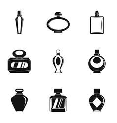 perfume bottle icon set simple style vector image