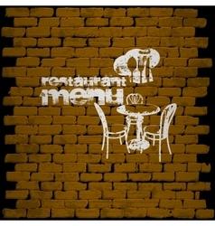 restaurant menu template on a brick wall uno vector image vector image