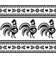 Seamless Polish monochrome folk art pattern vector image vector image