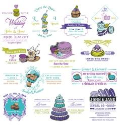 Wedding Vintage Invitation Collection - Dessert an vector image vector image