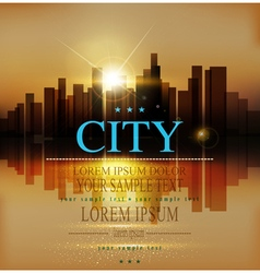 background with urban landscape buildings and suns vector image vector image