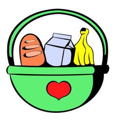 basket with food icon icon cartoon vector image vector image