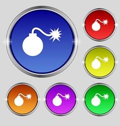 Bomb icon sign round symbol on bright colourful vector