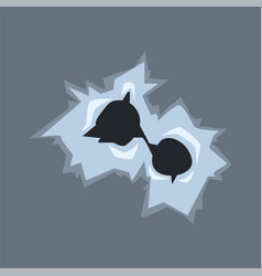 bullet holes in glass with cracks and scratches vector image