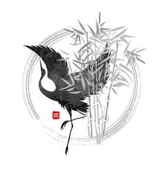 dancing crane in bamboo vector image