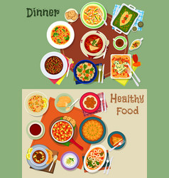 dinner food icon with spanish and jewish dishes vector image vector image