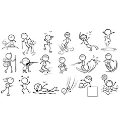 Doodle design of people engaging in different vector image