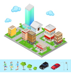 Isometric City Modern City District vector image