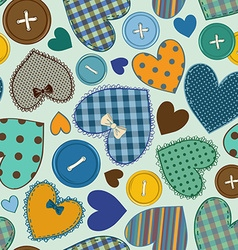 Seamless pattern of heart patchworks and buttons vector image