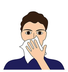 Cover your cough sick ill fever flu cold sneeze vo vector image vector image