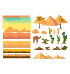 desert seamless background elements cartoon vector image vector image