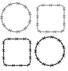 Frame barbed wire set vector