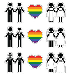 Lesbian brides and gay grooms icon 3 set vector image vector image