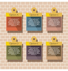 Square Banners Hang On Brick Wall vector image