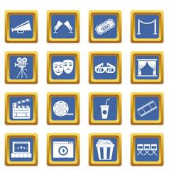 cinema icons set blue vector image