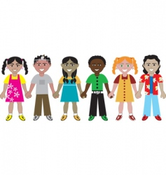 kids hold hands vector image vector image