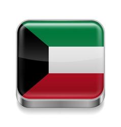 Metal icon of Kuwait vector image