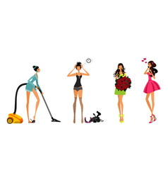 modern girls set vector image vector image