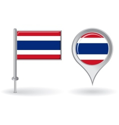 Thai pin icon and map pointer flag vector image