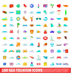 100 sea tourism icons set cartoon style vector image