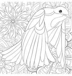 Adult coloring bookpage a cute flying dove on the vector