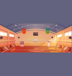 basketball court with hoop tribune and scoreboard vector image