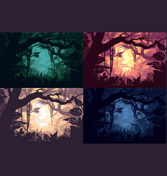 Beautiful jungle landscapes set vector