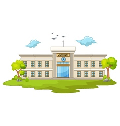 Beautiful university cartoon with green grass vector