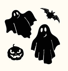 black ghost pumpkin lantern and bat stencil on vector image