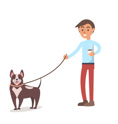 Boy with hot coffee in paper cup walks with dog vector
