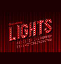 broadway lights retro style font with light bulbs vector image