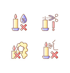 Candle safety warning rgb color manual label vector