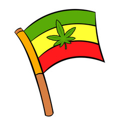 Cannabis leaf on rastafarian flag icon cartoon vector