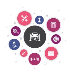 Car service infographic 10 steps bubble design vector