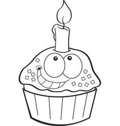Cartoon cupcake with a candle vector