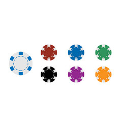 Casino coins chip set isolated on white vector