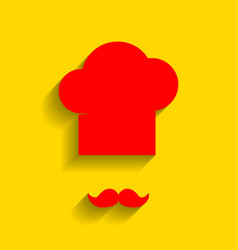 chef hat and moustache sign red icon with vector image