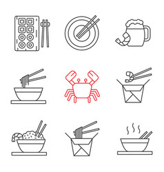 chinese food linear icons set vector image