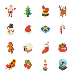 christmas isometric elements vector image