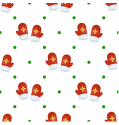 christmas mitten seamless pattern winter holiday vector image