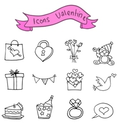 Collection stock valentine icons vector